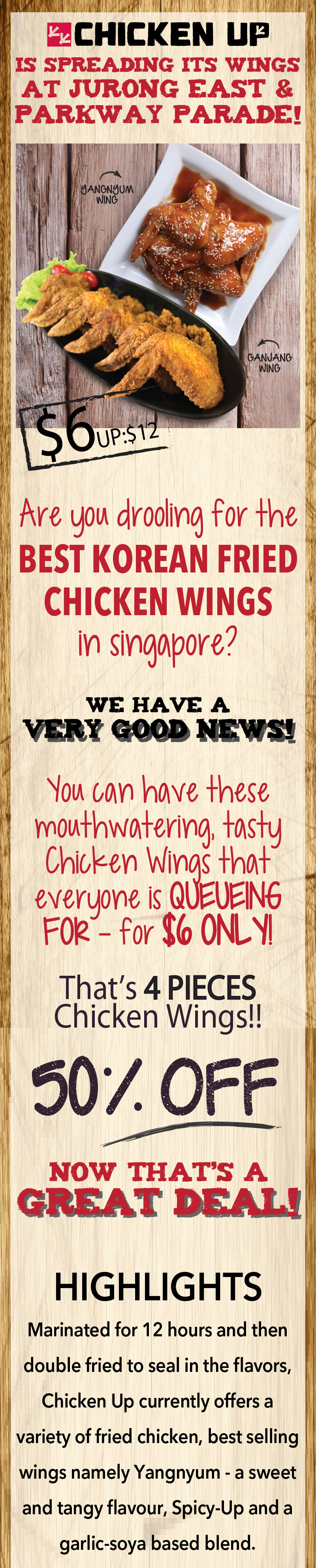 Chicken Up SG 50% Off 4pcs Wings Coupon Valid 30 Days after Purchase - Why Not Deals 1 & Promotions