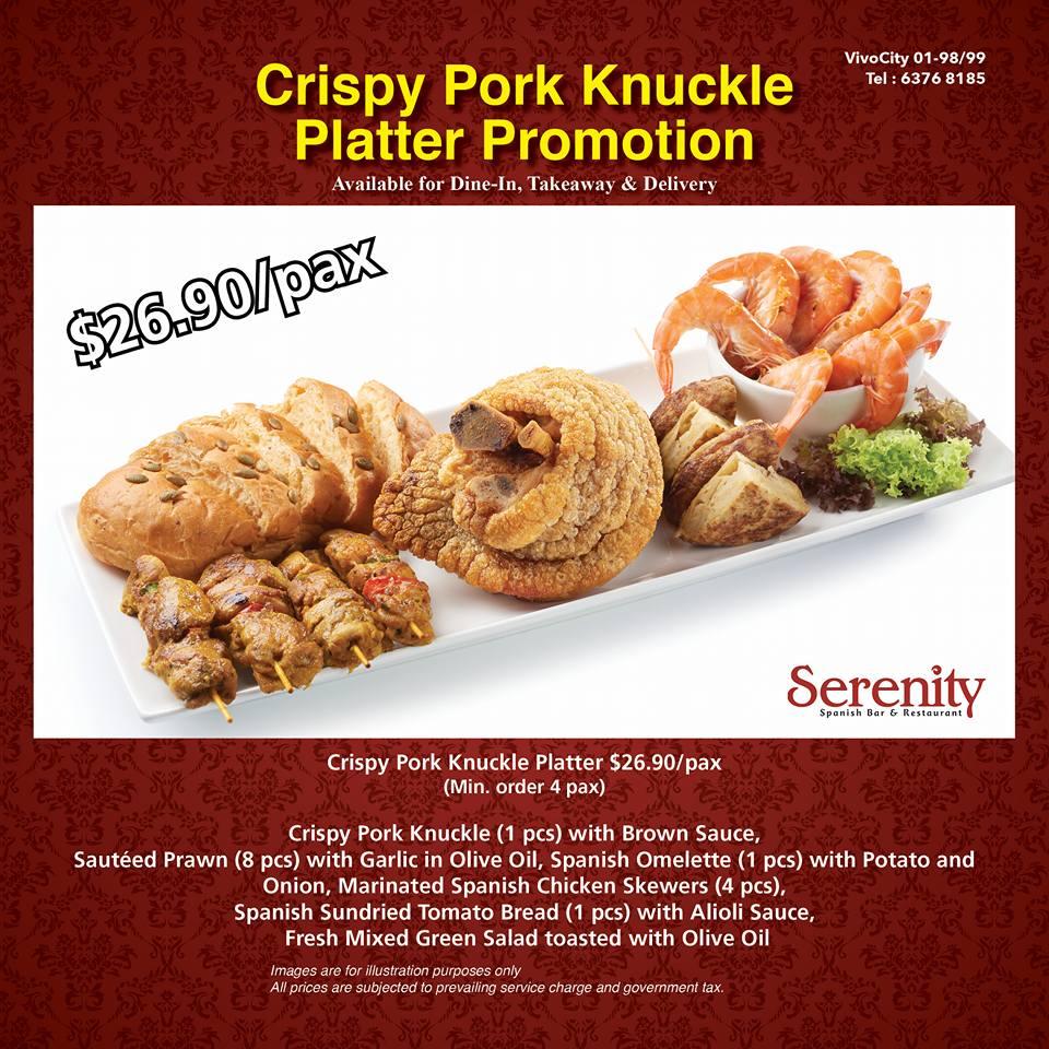 Serenity Spanish Bar & Restaurant Crispy Pork Knuckle Platter Promo - Why Not Deals & Promotions