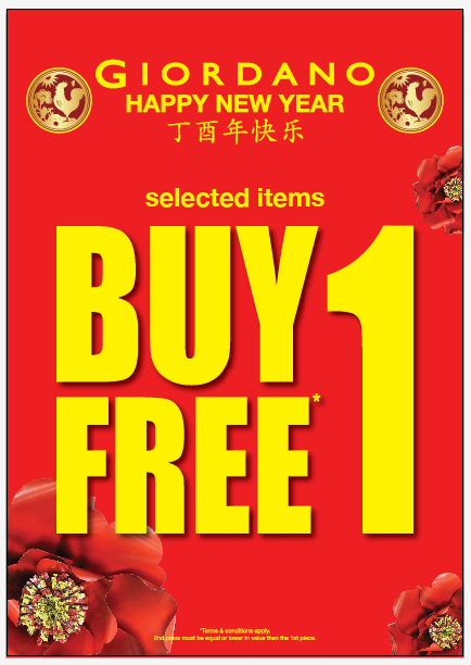 GIORDANO Singapore Happy New Year 2017 Buy 1 Get 1 Free Promotion | Why Not Deals & Promotions