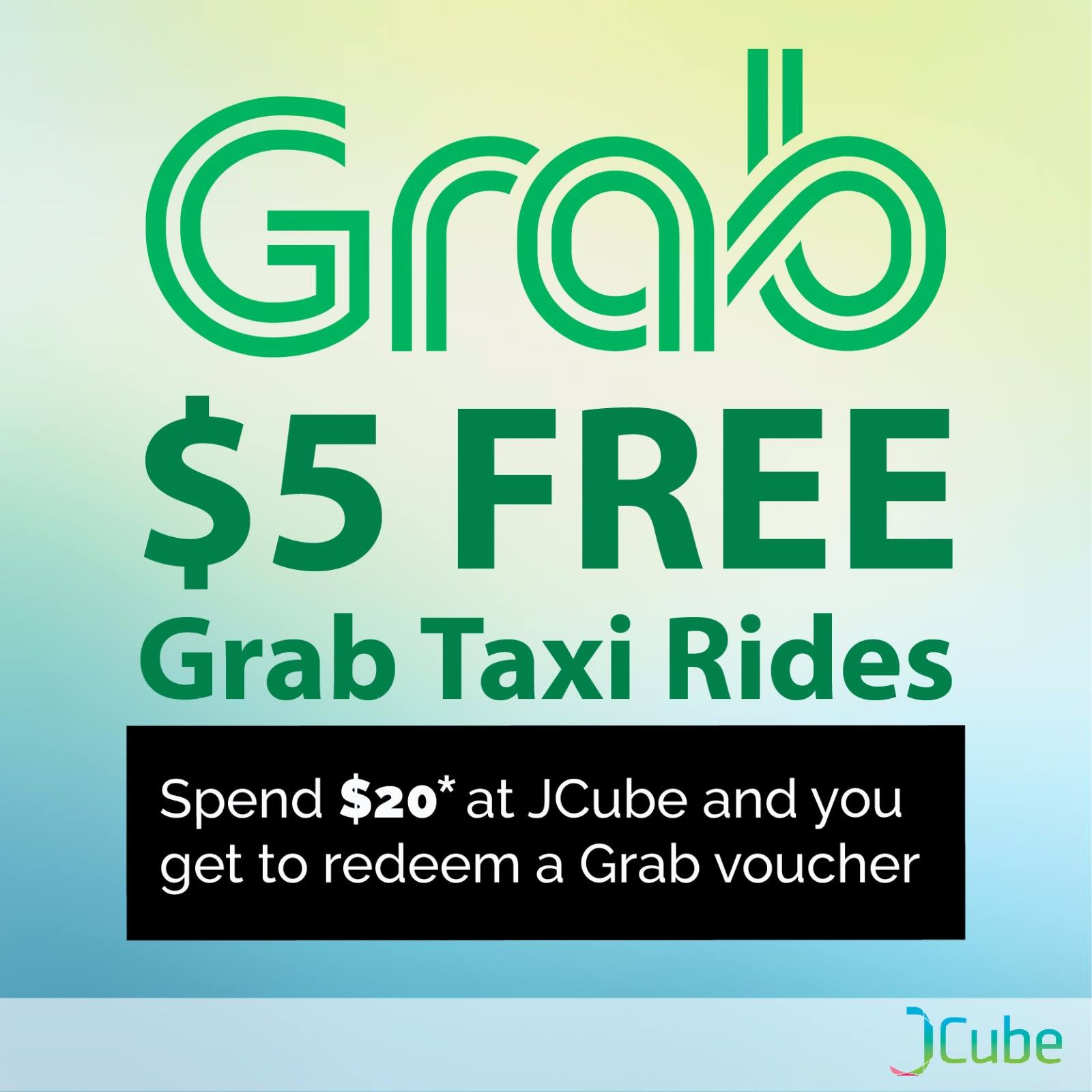 JCube Singapore is giving away $5 FREE GrabTaxi Rides Voucher | Why Not Deals & Promotions