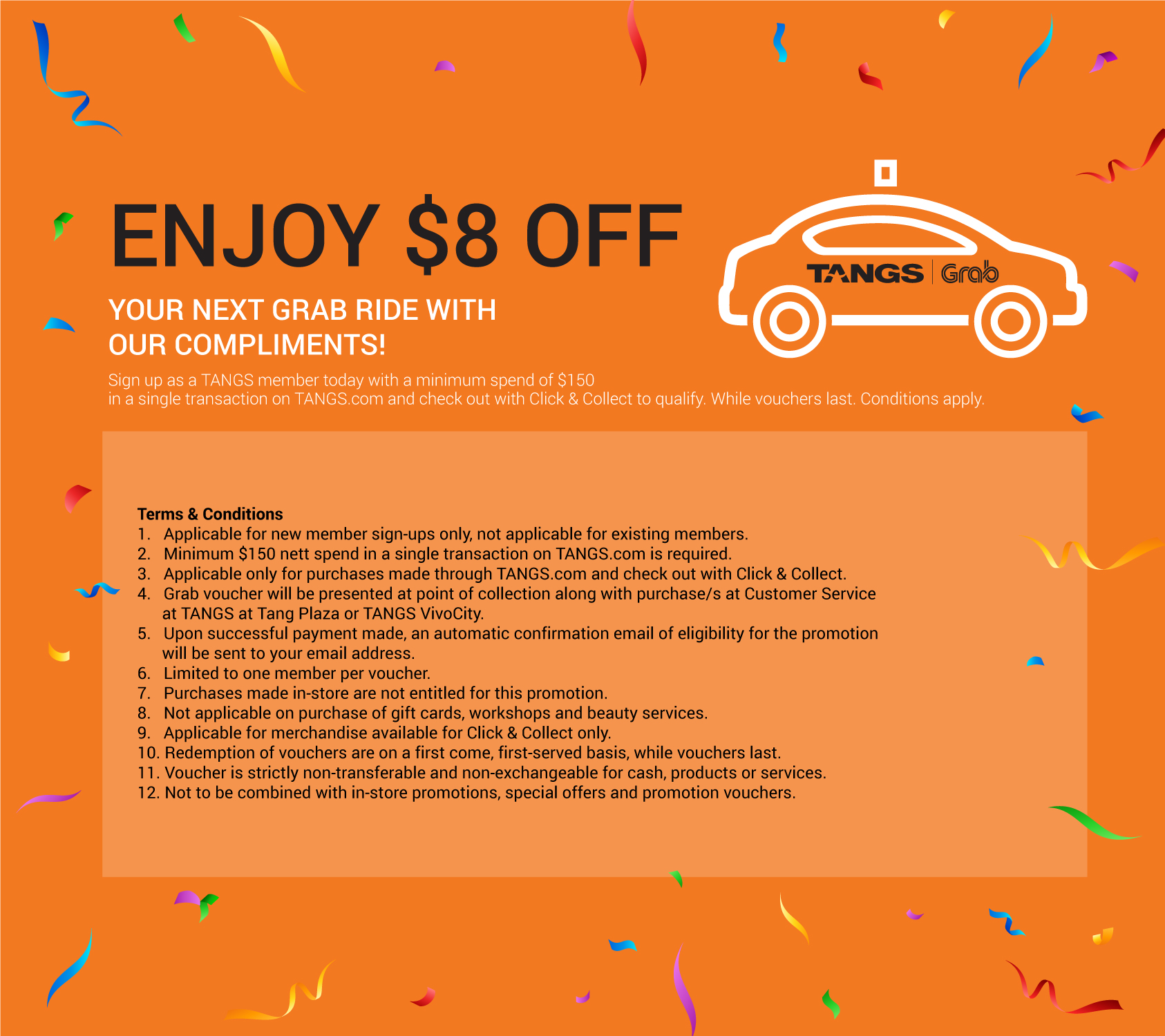 TANGS Singapore Sign Up as a TANGS Member & Enjoy $8 Off Next Grab Ride Promotion While Vouchers Last | Why Not Deals 1 & Promotions