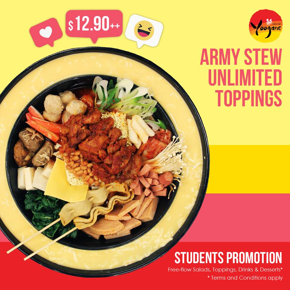 Yoogane Singapore Army Stew Unlimited Toppings $12.90++ Students Promotion is back! | Why Not Deals & Promotions