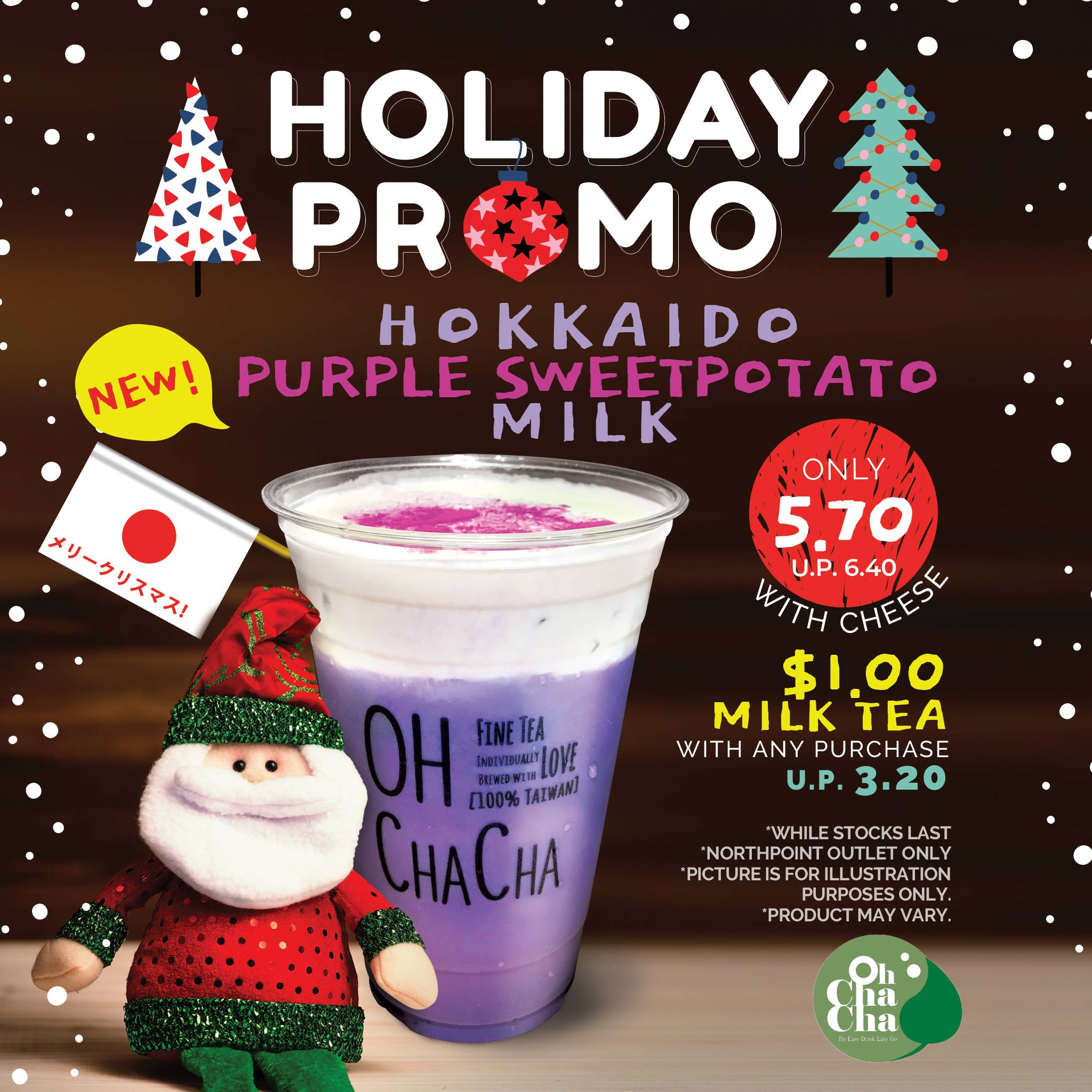 OH CHA CHA Singapore Celebrate Christmas & New Year For Just $1 Promotion While Stocks Last | Why Not Deals & Promotions