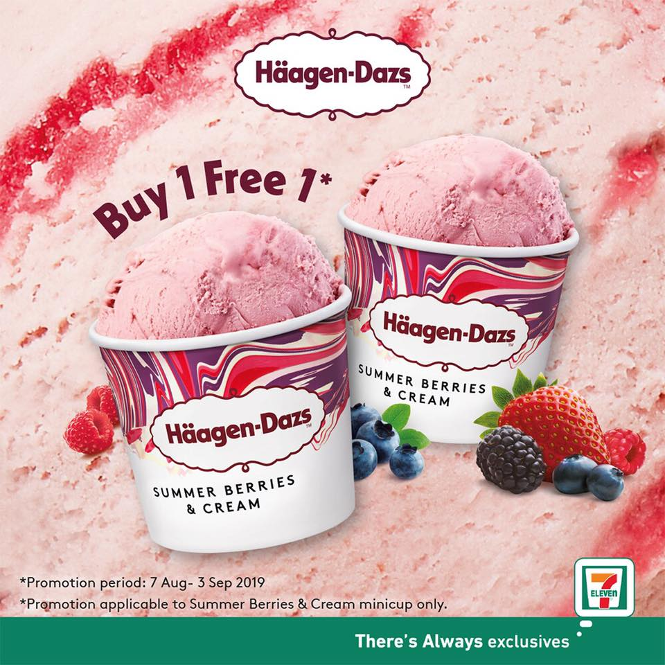 7-Eleven Singapore Häagen-Dazs Buy 1 FREE 1 Promotion 7 Aug - 3 Sep 2019   Why Not Deals & Promotions