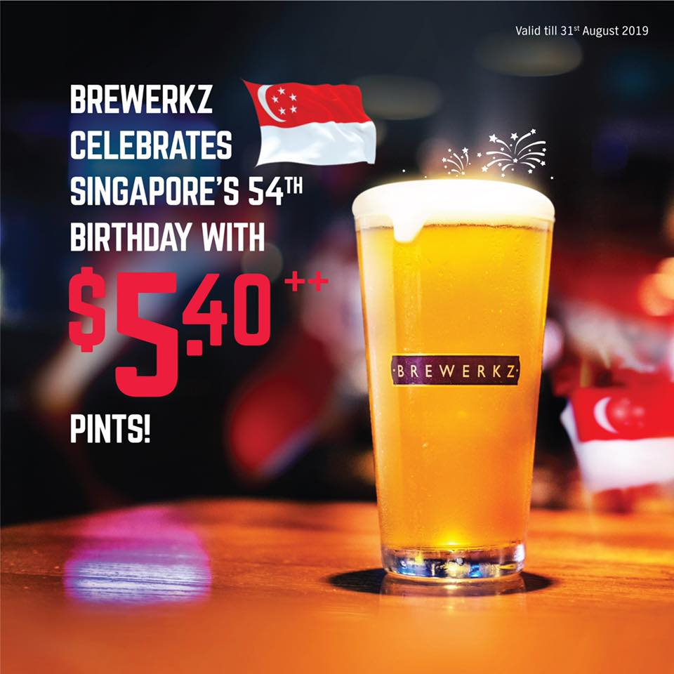 Brewerkz Singapore $5.40++ Pints National Day Promotion ends 31 Aug 2019 | Why Not Deals & Promotions