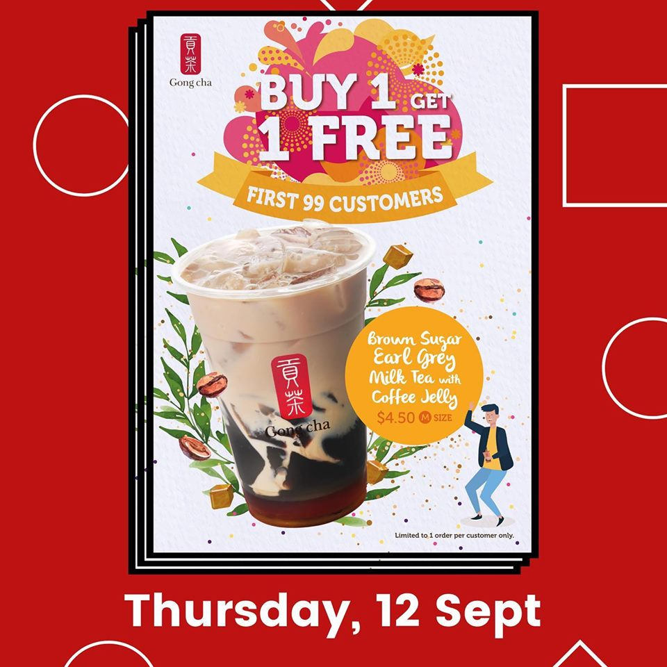Gong Cha Singapore Tampines MRT Store Opening Buy 1 Get 1 FREE Promotion 12-14 Sep 2019 | Why Not Deals 1 & Promotions