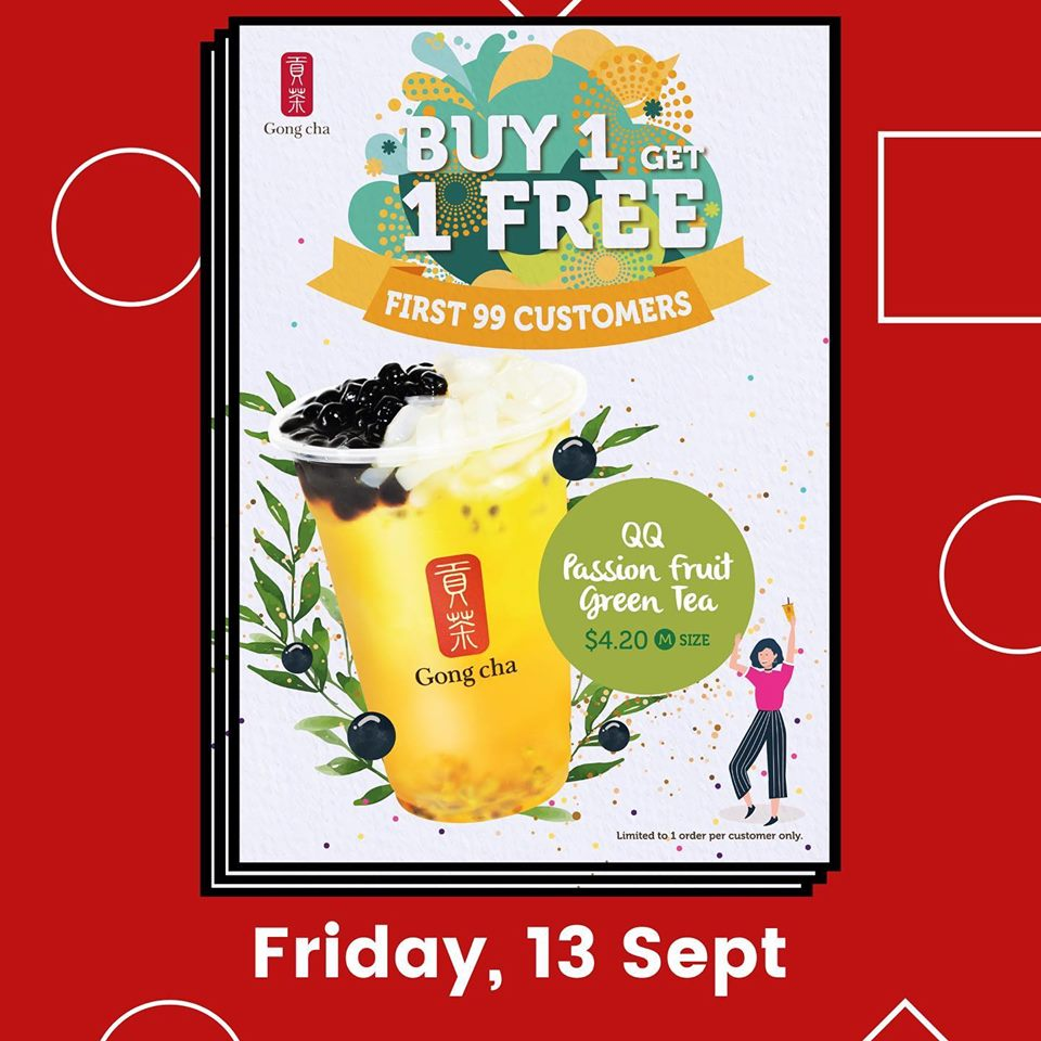Gong Cha Singapore Tampines MRT Store Opening Buy 1 Get 1 FREE Promotion 12-14 Sep 2019 | Why Not Deals 2 & Promotions