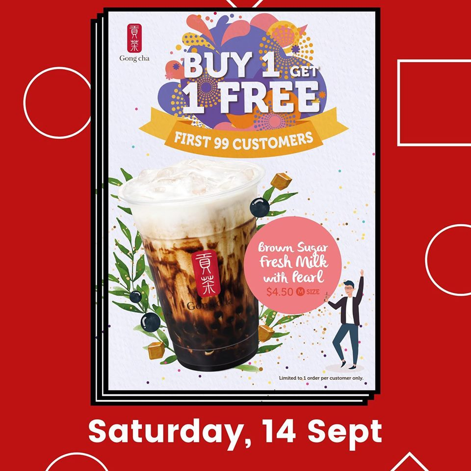 Gong Cha Singapore Tampines MRT Store Opening Buy 1 Get 1 FREE Promotion 12-14 Sep 2019 | Why Not Deals 3 & Promotions