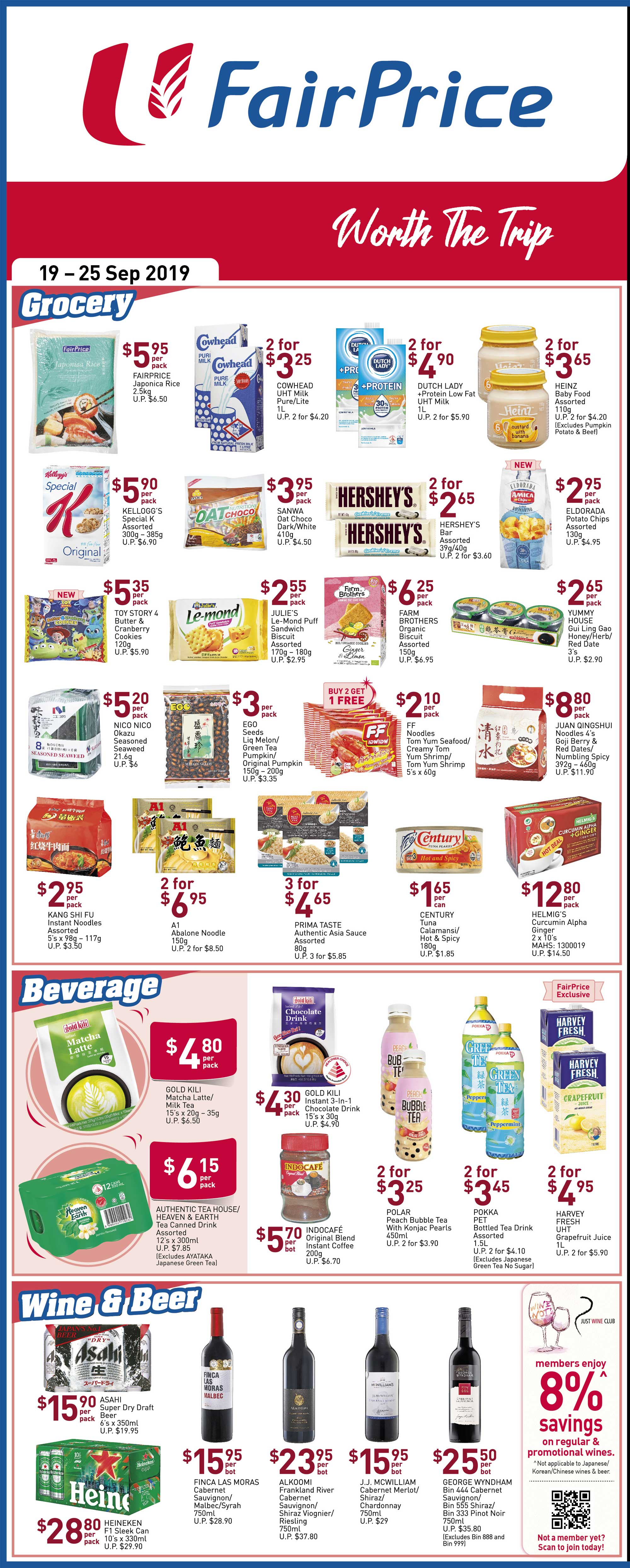 NTUC FairPrice Singapore Your Weekly Saver Promotion 19-25 Sep 2019 | Why Not Deals 1 & Promotions