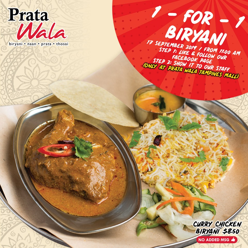 Prata Wala Singapore Tampines Mall Outlet Reopening 1-for-1 Curry Chicken Biryani Promotion 17 Sep 2019 | Why Not Deals & Promotions