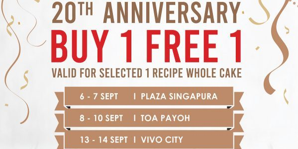 Secret Recipe Singapore 20th Anniversary Buy 1 FREE 1 Promotion 6-14 Sep 2019 | Why Not Deals 1 & Promotions