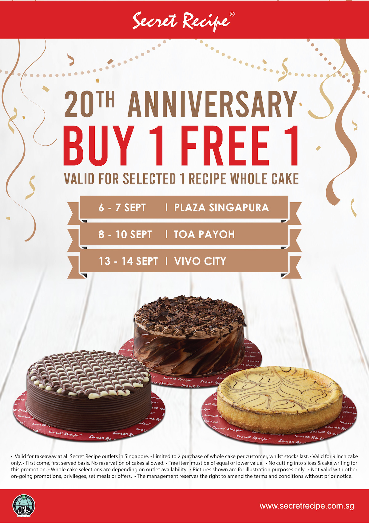 Secret Recipe Singapore 20th Anniversary Buy 1 FREE 1 Promotion 6-14 Sep 2019 | Why Not Deals & Promotions