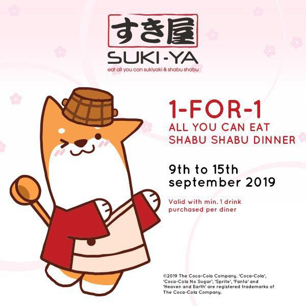 SUKI-YA Singapore 1-for-1 All You Can Eat Shabu Shabu Dinner Promotion 9-15 Sep 2019   Why Not Deals & Promotions