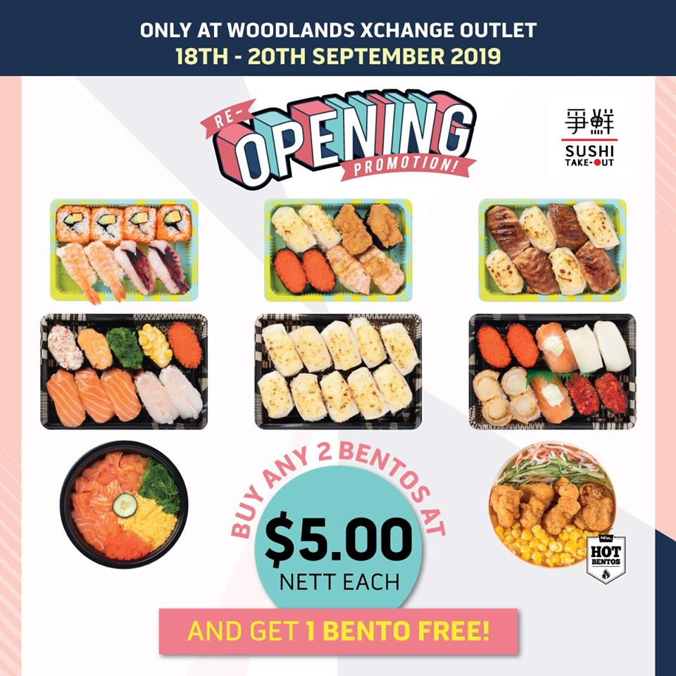 Sushi Express Singapore Purchase Any 2 Bentos & Get 3rd One FREE Promotion 18-20 Sep 2019 | Why Not Deals & Promotions