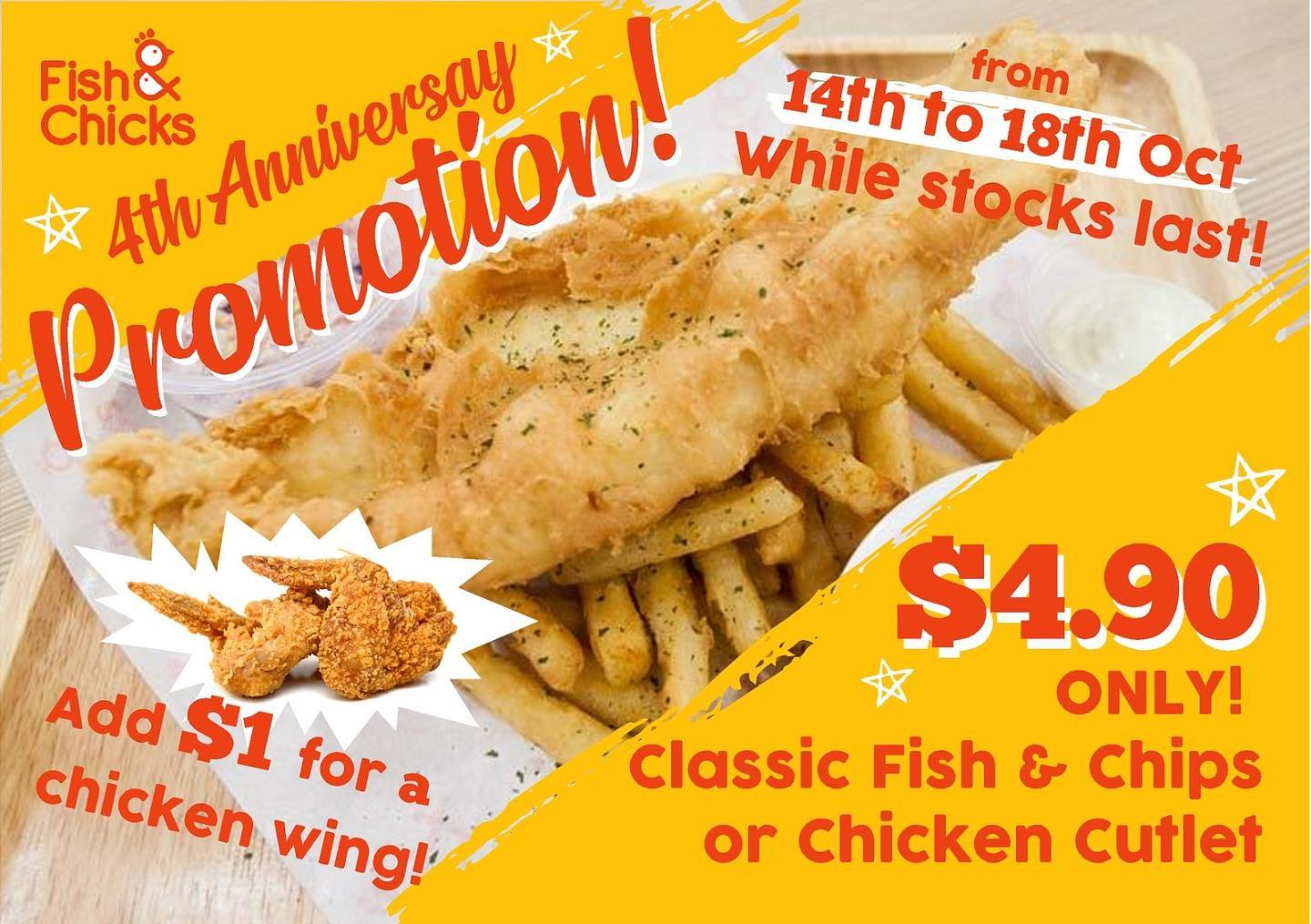 Fish & Chicks Singapore 4th Anniversary $4.90 Fish & Chips and Chicken Cutlet Promotion 14-18 Oct 2019   Why Not Deals & Promotions