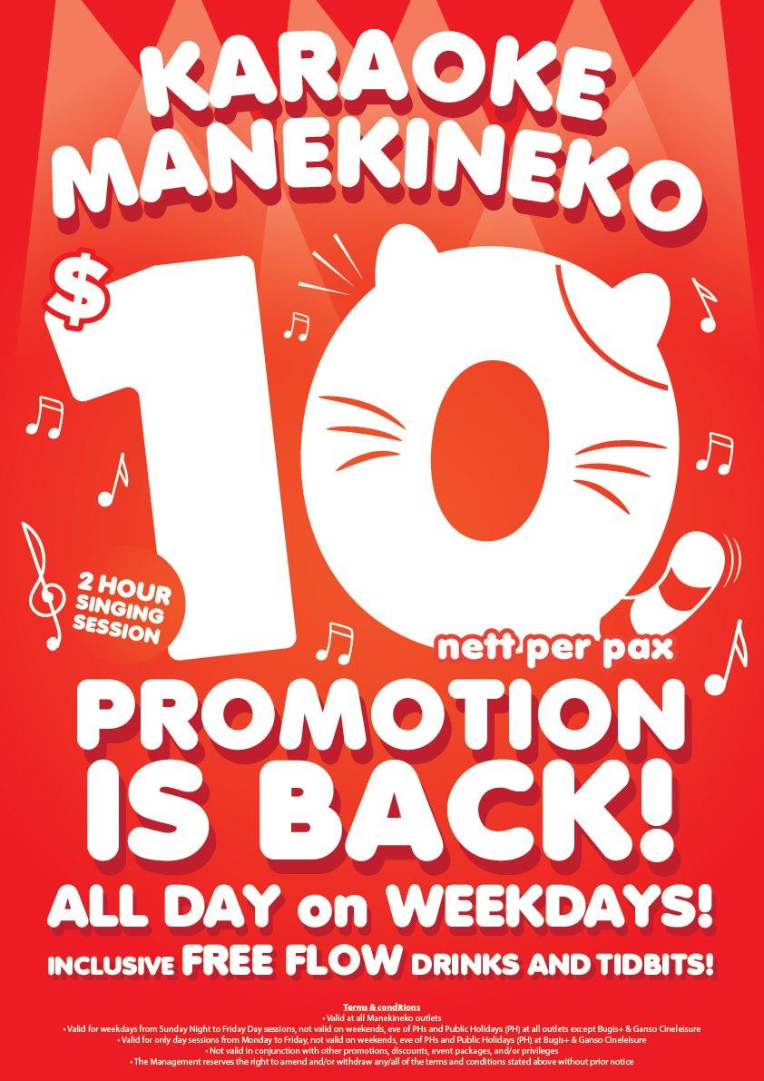 Karaoke Manekineko Singapore $10 Nett Per Pax ALL DAY on Weekdays Promotion is back | Why Not Deals & Promotions