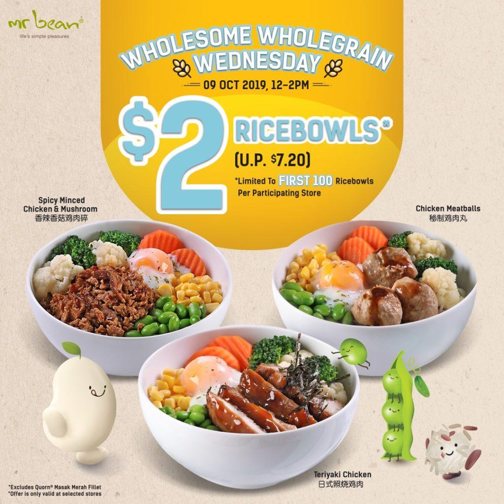 Mr Bean Singapore Midweek $2 Wholegrain Ricebowl Flash Sale 9 Oct 2019 | Why Not Deals