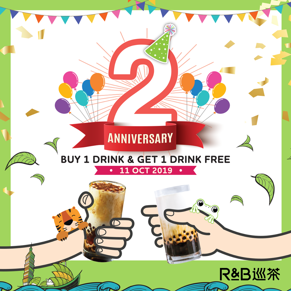 R&B Tea Singapore 2nd Anniversary 1-for-1 Promotion 11 Oct 2019 | Why Not Deals