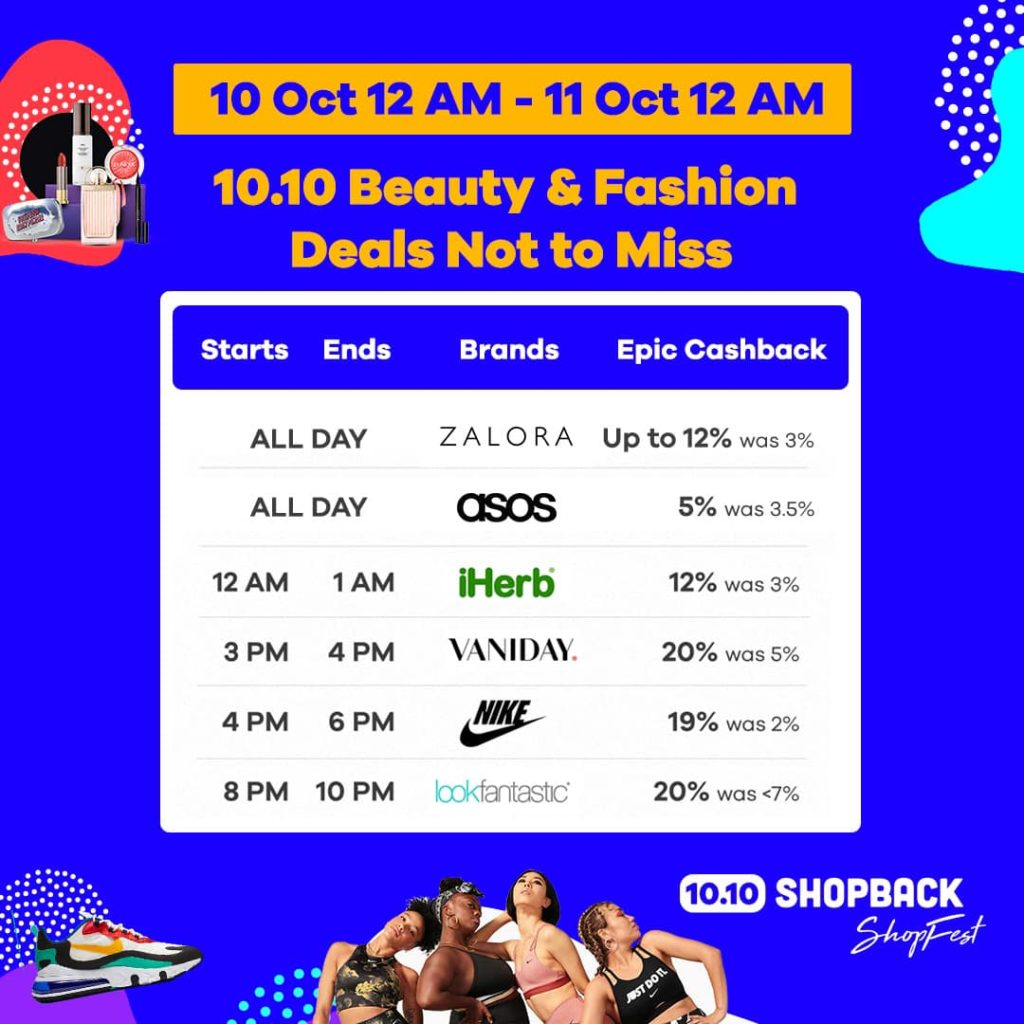 Shopback Singapore 10.10 Beauty & Fashion Deals Not to Miss 10-11 Oct 2019 | Why Not Deals