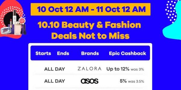 Shopback Singapore 10.10 Beauty & Fashion Deals Not to Miss 10-11 Oct 2019 | Why Not Deals 1 & Promotions