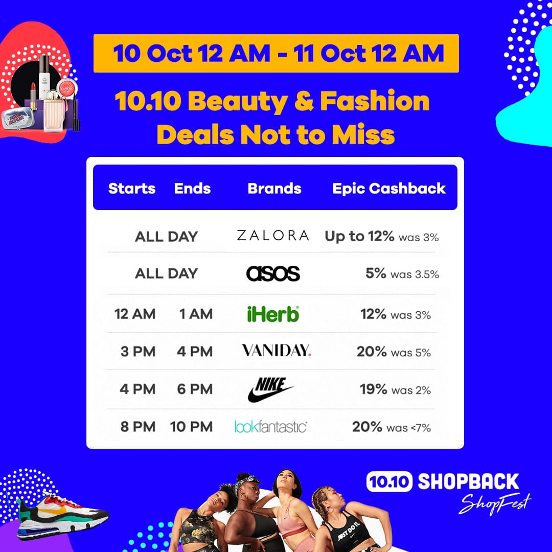 Shopback Singapore 10.10 Beauty & Fashion Deals Not to Miss 10-11 Oct 2019 | Why Not Deals & Promotions