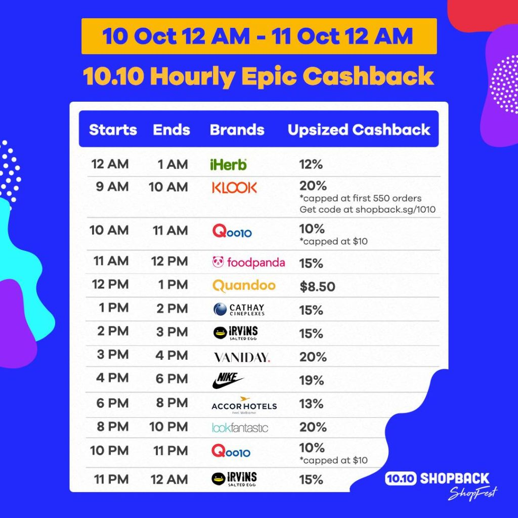 ShopBack Singapore 10.10 Hourly Epic Cashback Promotion 10-11 Oct 2019 | Why Not Deals