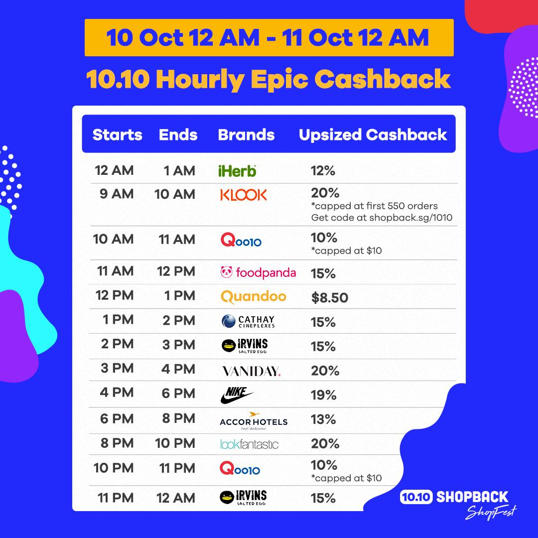 ShopBack Singapore 10.10 Hourly Epic Cashback Promotion 10-11 Oct 2019 | Why Not Deals & Promotions