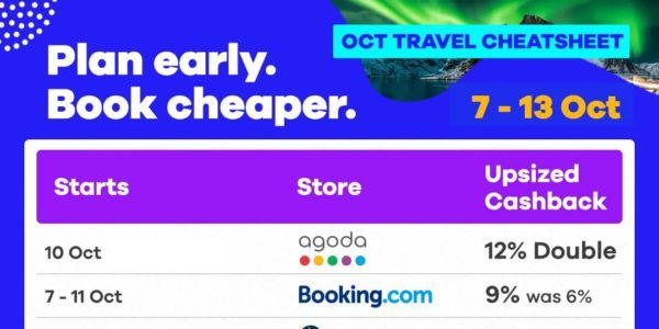 Shopback Singapore October Travel Cheatsheet with All Rounded Travel Deals 7-13 Oct 2019 | Why Not Deals 1 & Promotions