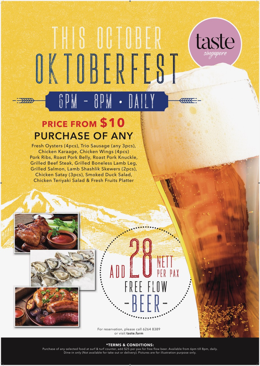 Taste Singapore Oktoberfest FREE-Flow Beer Promotion 10-31 Oct 2019 | Why Not Deals & Promotions