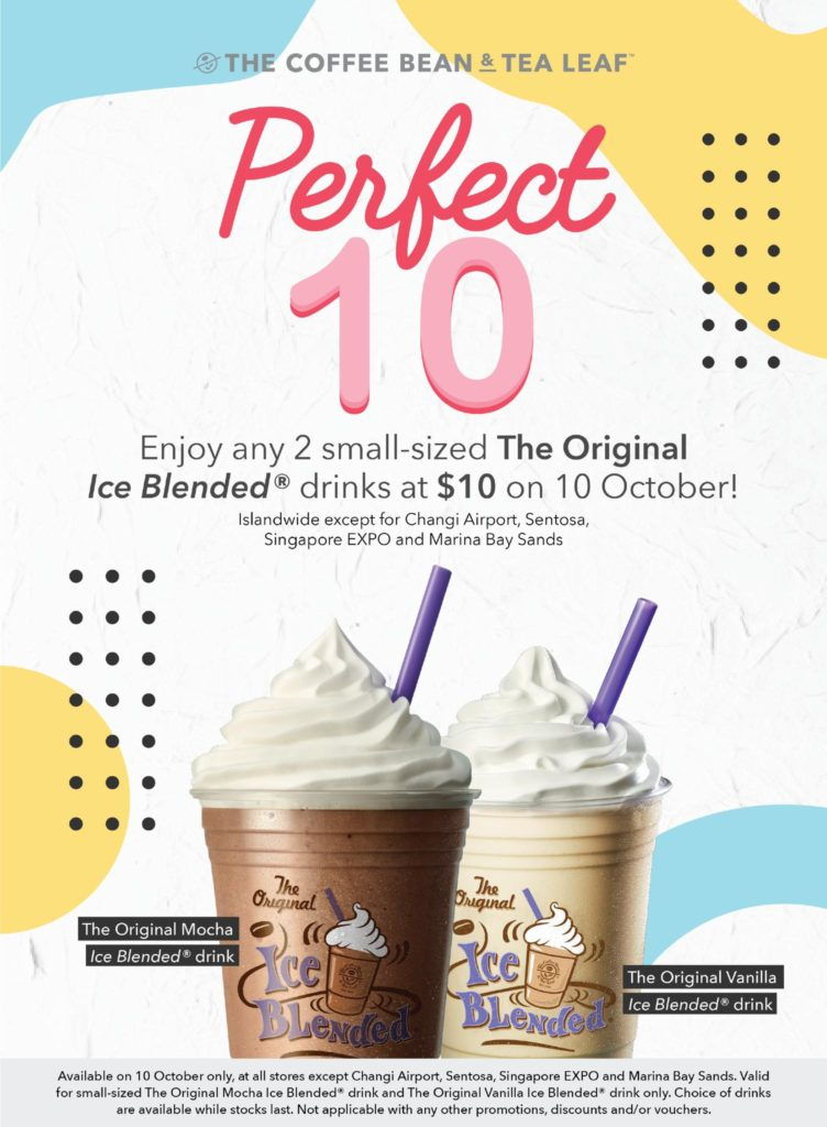 The Coffee Bean & Tea Leaf Singapore 10/10 $10 Drink Promotion only on 10 Oct 2019 | Why Not Deals