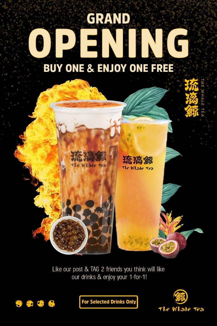 The Whale Tea Singapore Grand Opening Giveaway 1 For 1 Promotion 18-20 Oct 2019 | Why Not Deals & Promotions