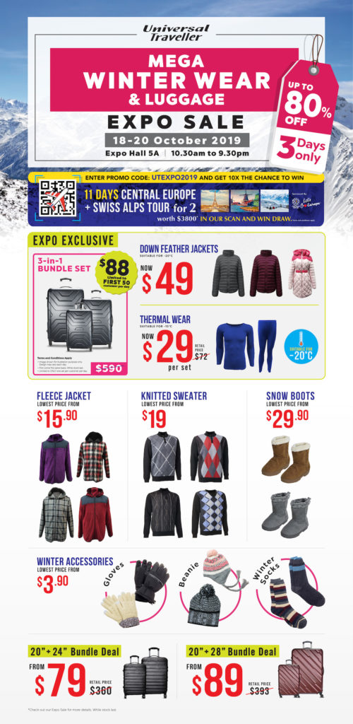Universal Traveller Singapore Mega Winter Wear & Luggage Expo Sale from 18-20 Oct 2019   Why Not Deals 6