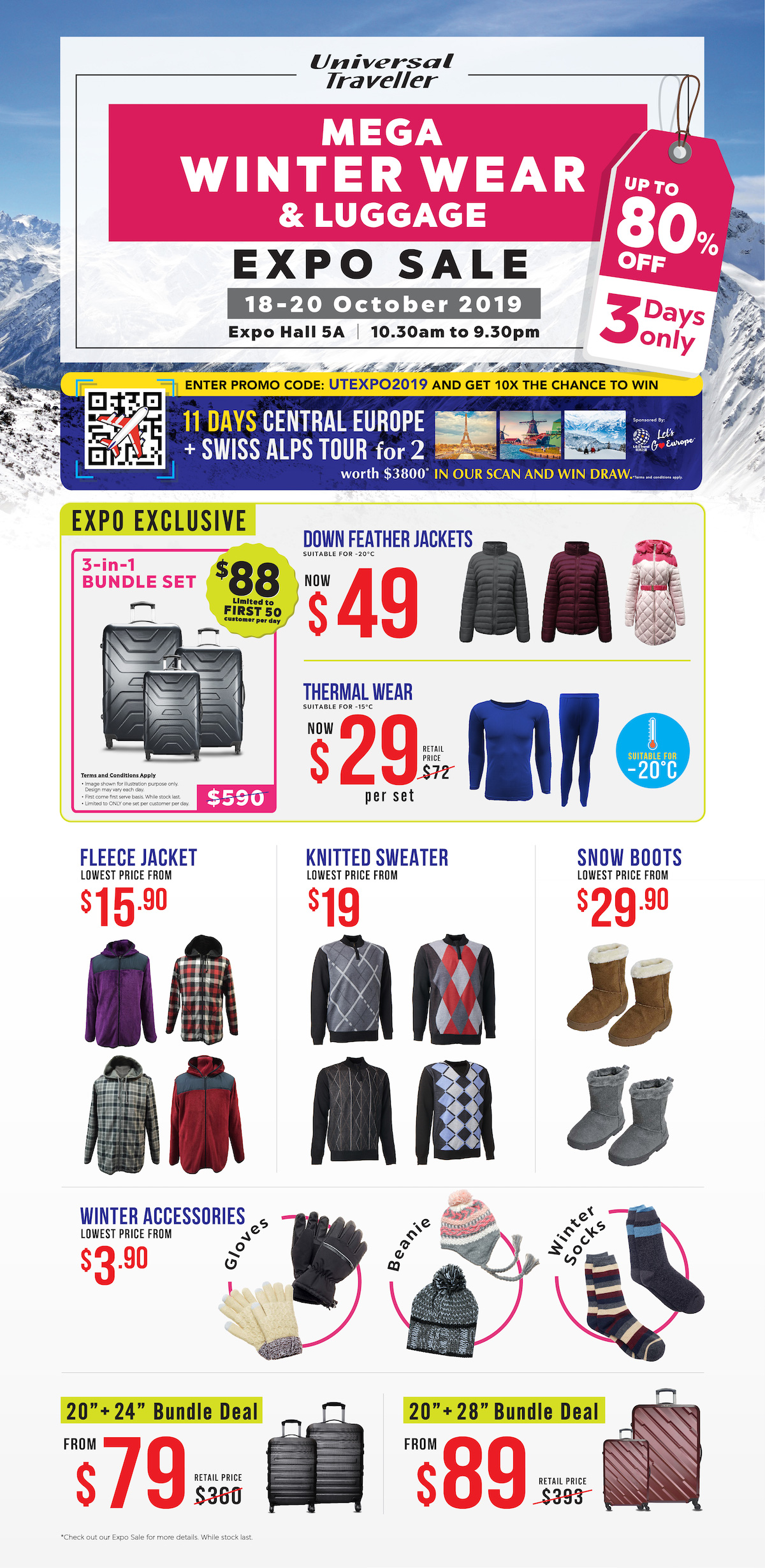 Universal Traveller Singapore Mega Winter Wear & Luggage Expo Sale from 18-20 Oct 2019   Why Not Deals 6 & Promotions