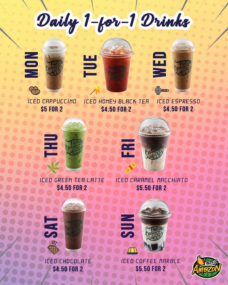Café Amazon Singapore Daily 1-for-1 Drink Festive Promotion 23 Nov - 31 Dec 2019   Why Not Deals