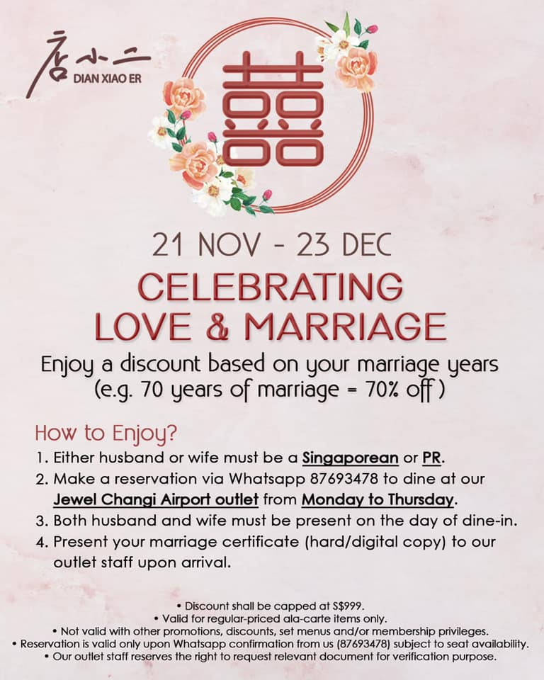 Dian Xiao Er Singapore Celebrate Love and Marriage with Discount Based on Your Marriage Years from 21 Nov - 23 Dec 2019 | Why Not Deals 1