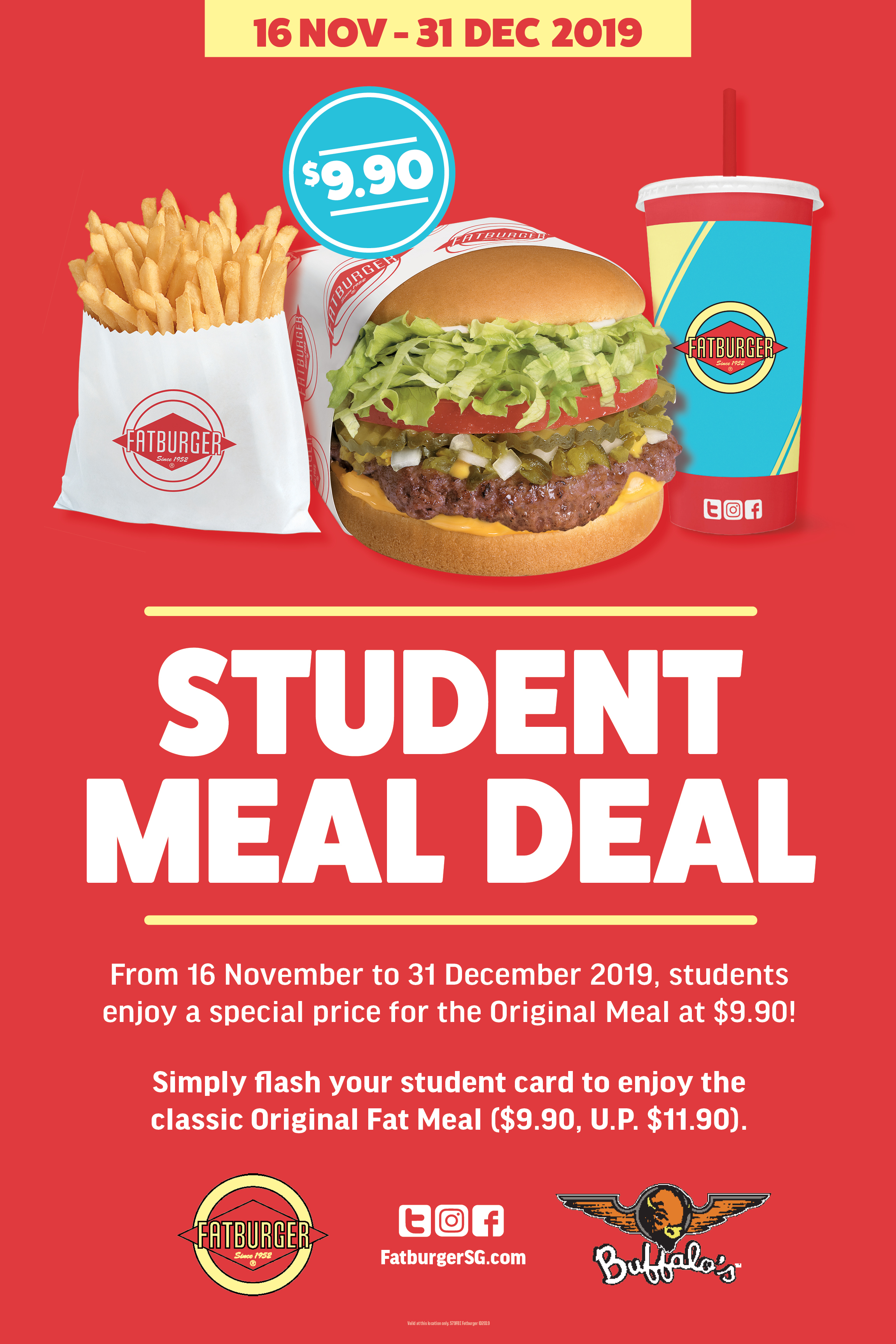 Fatburger Singapore School Holidays Students Special Price for The Original Meal at $9.90 Promotion 16 Nov - 31 Dec 2019 | Why Not Deals & Promotions