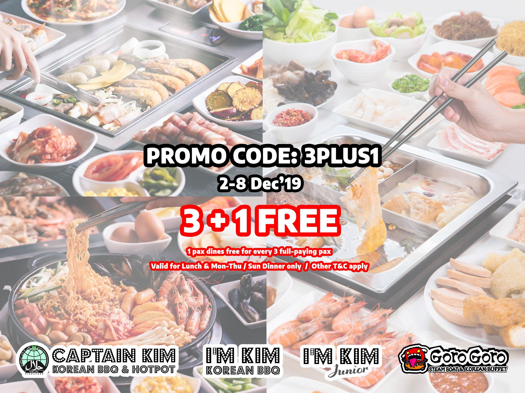 GoroGoro Steamboat & Korean Buffet Singapore 3 + 1 FREE Promotion 2-8 Dec 2019 | Why Not Deals & Promotions