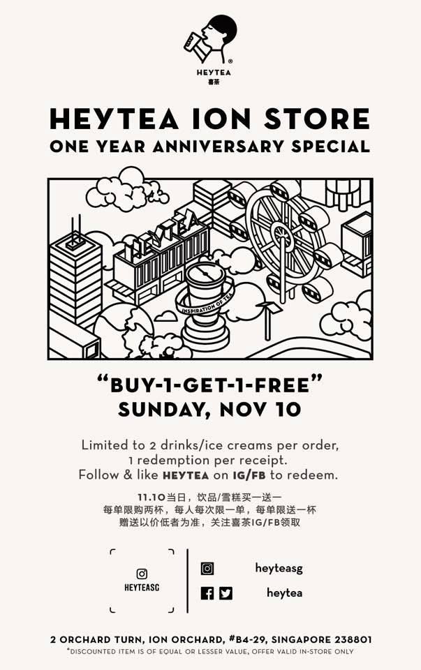 HEYTEA Singapore 1st Anniversary Buy 1 FREE 1 Promotion 10 Nov 2019 | Why Not Deals 1