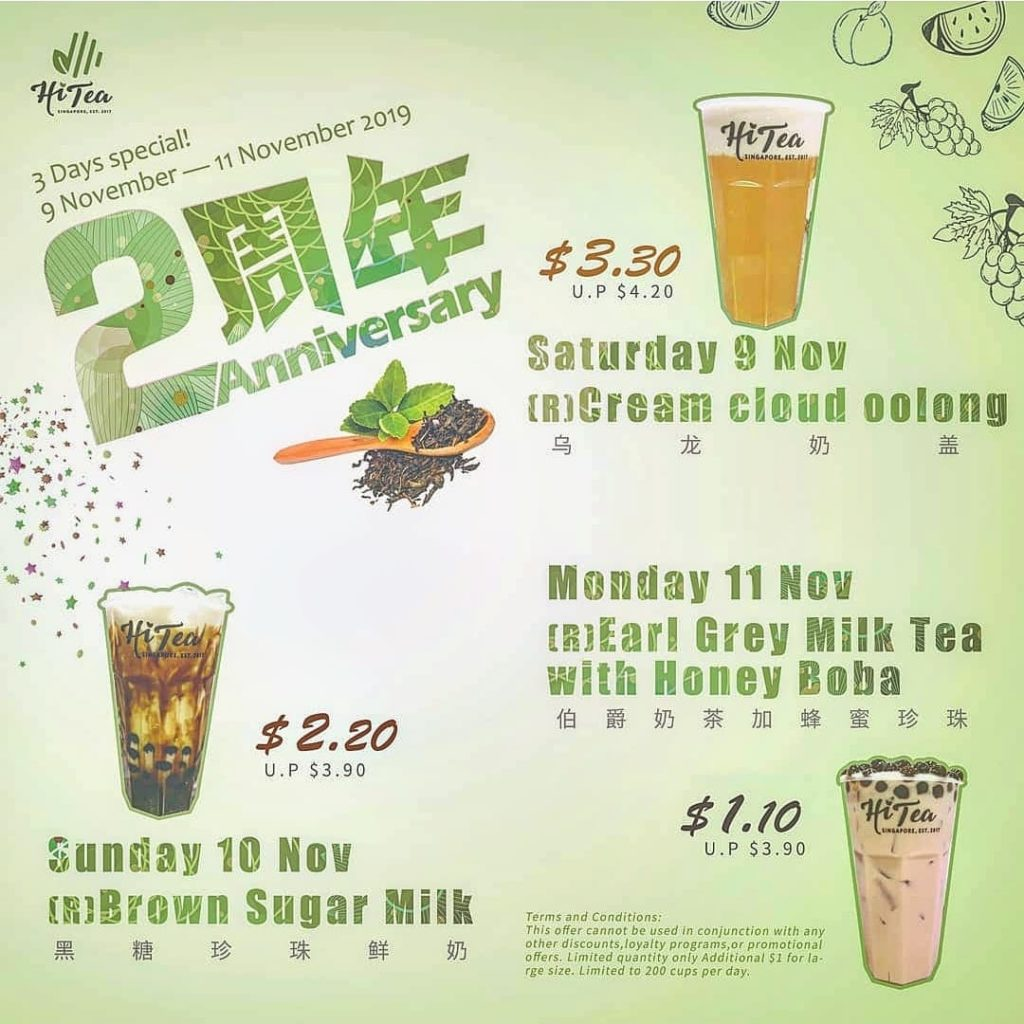 Hi Tea Singapore 2nd Anniversary 3 Days Special Promotion 9-11 Nov 2019 | Why Not Deals
