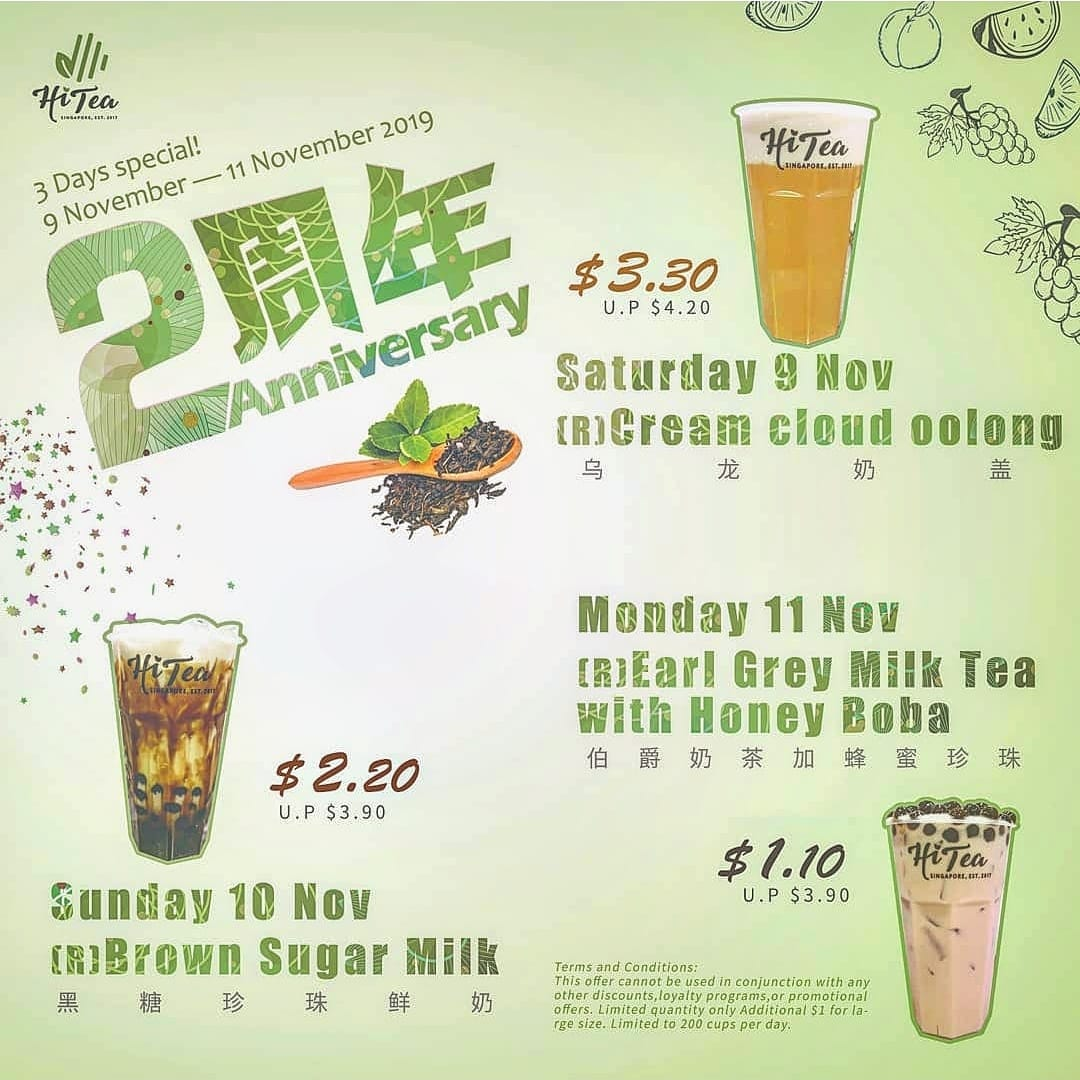 Hi Tea Singapore 2nd Anniversary 3 Days Special Promotion 9-11 Nov 2019 | Why Not Deals & Promotions