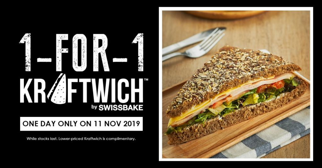 Kraftwich Singapore 1-for-1 Kraftwich Promotion only on 11 Nov 2019   Why Not Deals