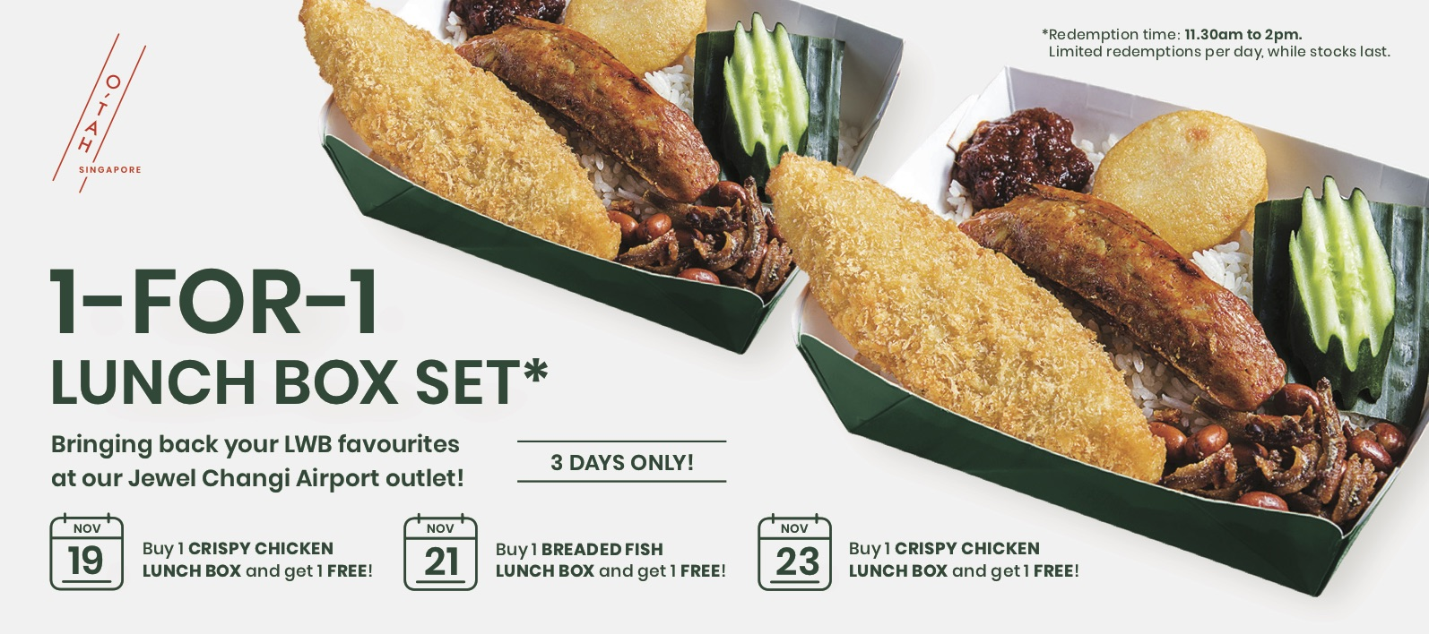 Lee Wee & Brothers Singapore 1-for-1 Deal on Selected Lunch Boxes at Jewel Changi Airport Outlet 19-23 Nov 2019 | Why Not Deals 1 & Promotions