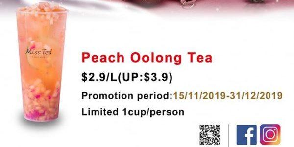 Miss Tea Singapore $2.90 Peach Oolong Tea Christmas Special Promotion 15 Nov - 31 Dec 2019 | Why Not Deals 1 & Promotions