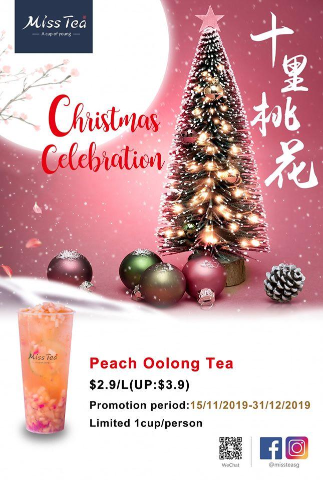 Miss Tea Singapore $2.90 Peach Oolong Tea Christmas Special Promotion 15 Nov - 31 Dec 2019 | Why Not Deals
