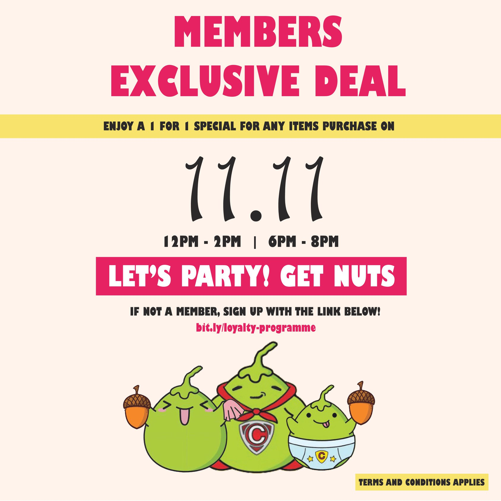 Mr Coconut Singapore Members Exclusive 11.11 1-for-1 Promotion 11 Nov 2019 | Why Not Deals & Promotions