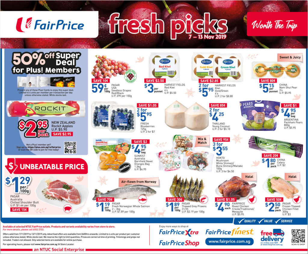 NTUC FairPrice Singapore Your Weekly Saver Promotions 7-13 Nov 2019   Why Not Deals