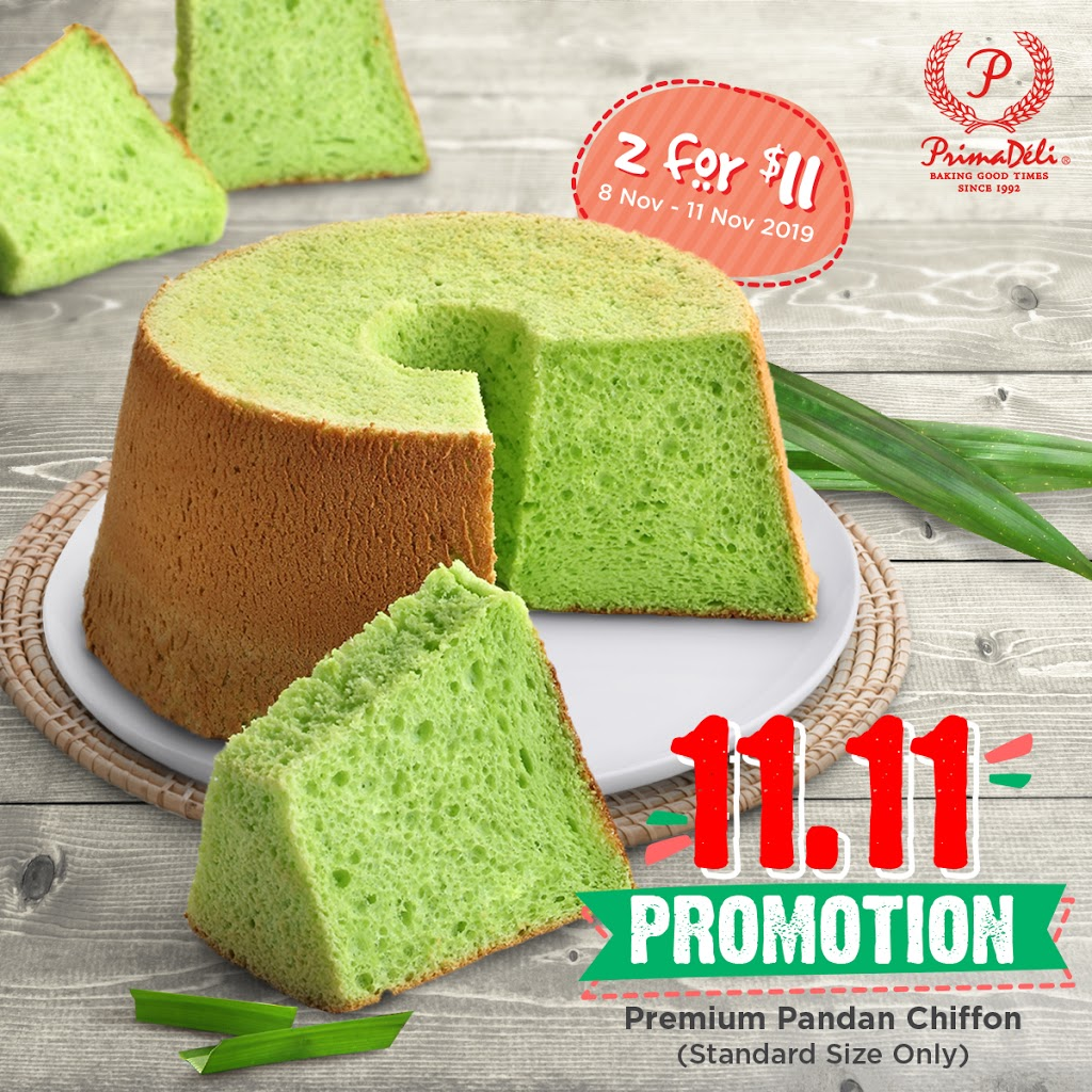 PrimaDeli Singapore Pandan Chiffon Cakes 2 For $11 11.11 Promotion ends 11 Nov 2019 | Why Not Deals
