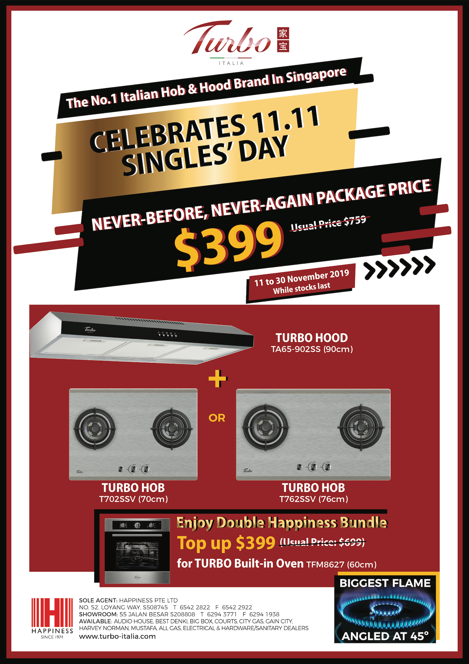 TURBO Singapore Singles' Day 11.11 First-Ever Nationwide Sales Promotion 11-30 Nov 2019 | Why Not Deals & Promotions