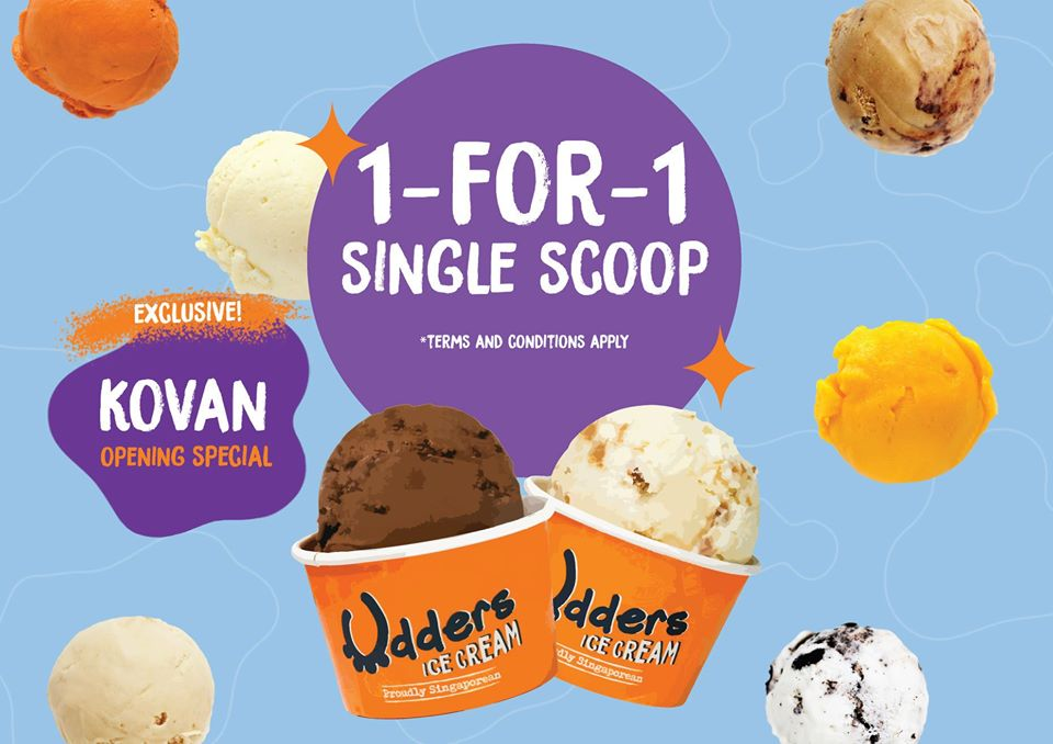 Udders Ice Cream Singapore 1-for-1 Single Scoops Opening Special Promotion 21 Nov - 15 Dec 2019 | Why Not Deals