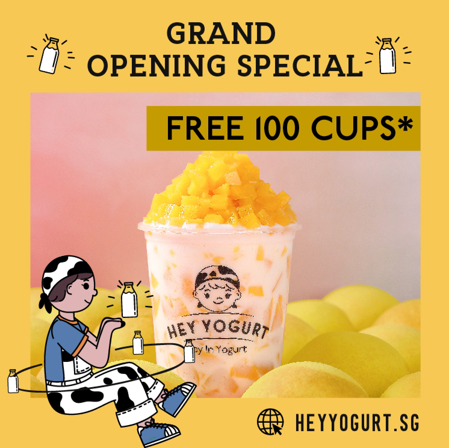Hey Yogurt offering Free 100 Cups* on 14th January 2020 | Why Not Deals & Promotions